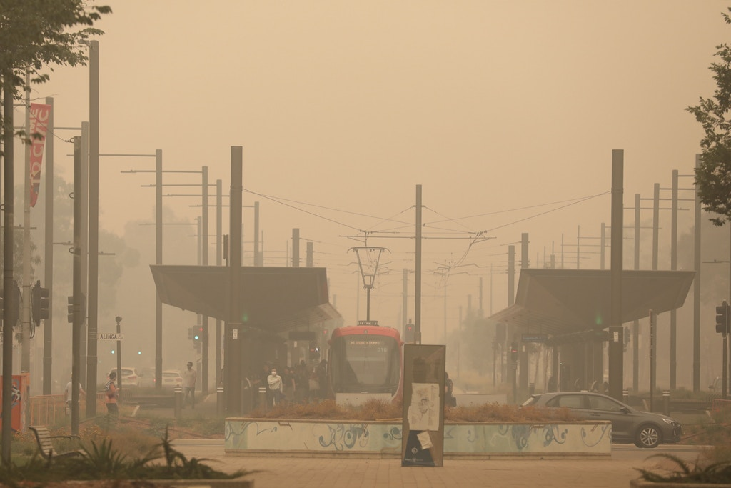 CANBERRA, Jan. 5, 2020 -- A light-rail station is shrouded in bushfire smoke in Canberra, Australia, Jan. 5, 2020. Australia's bushfire crisis, which has seen more than 1,500 homes destroyed and at least 23 confirmed deaths according to The Australian newspaper, were expected to be exacerbated by catastrophic conditions forecast for Saturday. (Photo by Chu Chen/Xinhua via Getty) (Xinhua/Chu Chen via Getty Images)