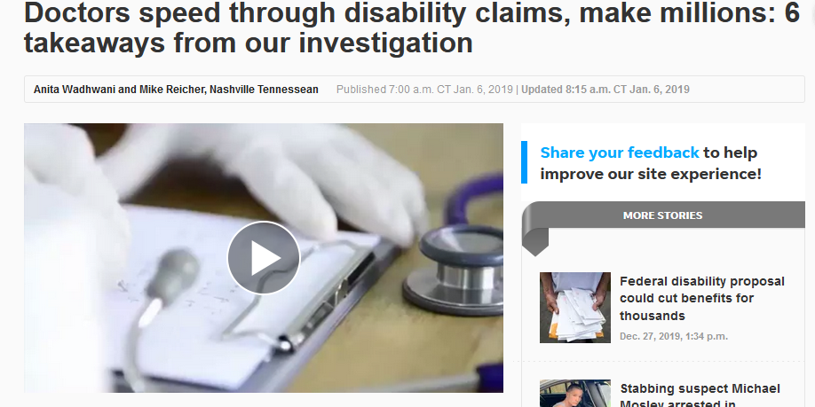 Tennessean: Doctors speed through disability claims, make millions: 6 takeaways from our investigation