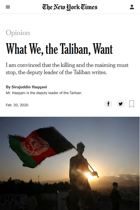 NYT: What We, the Taliban, Want