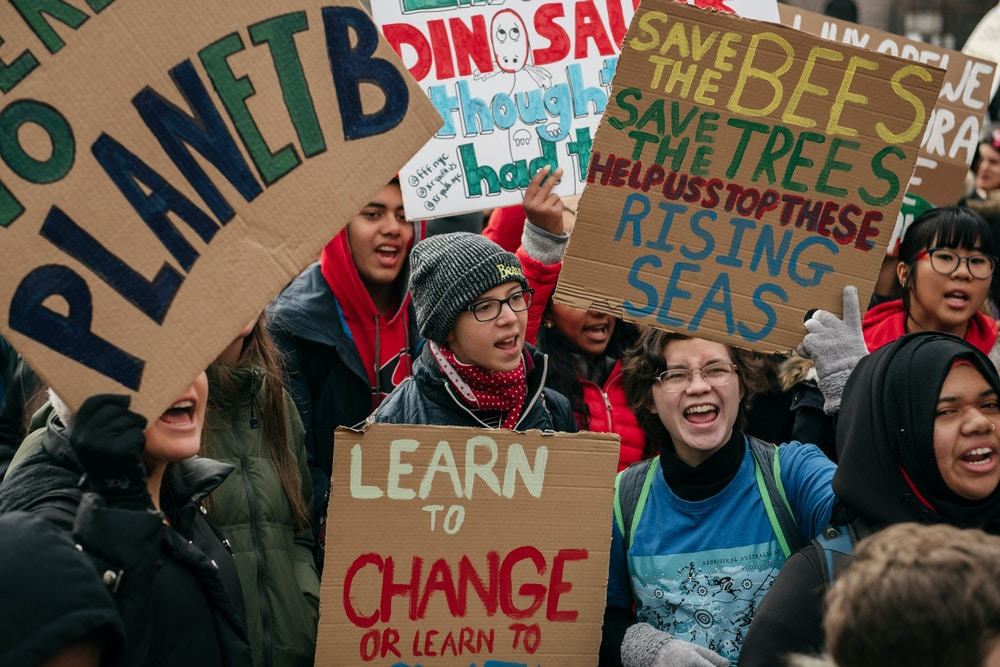 Protestors demand broad action at a youth-led climate strike near City Hall in New York City.