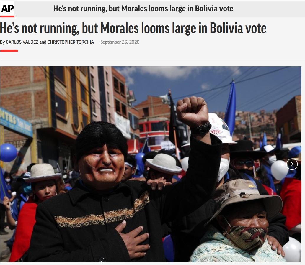 AP: He's not running, but Morales looms large in Bolivia vote