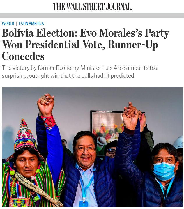 WSJ: Bolivia Election: Evo Morales's Party Won Presidential Vote, Runner-Up Concedes