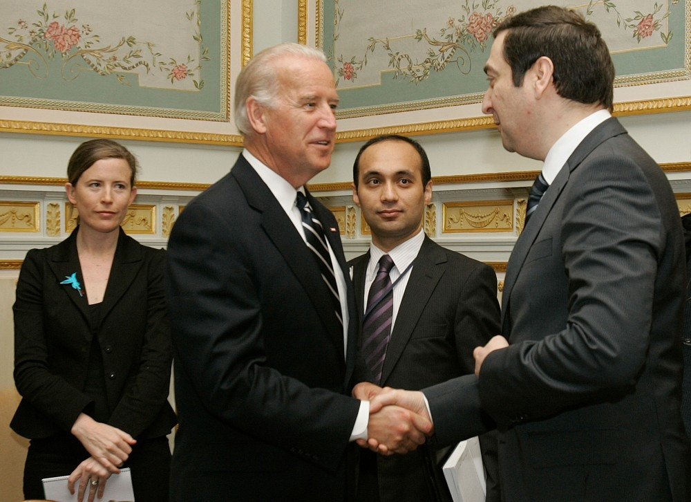 U.S. Vice President Joe Biden, right, shakes hands with Azerbaijan's Ambassador Kamil Khasyev during a meeting of non-NATO ISAF partners at the U.S. Mission in Brussels, Tuesday March 10, 2009. Biden is on a one-day visit to Brussels and will attend a NATO meeting and meet with EU officials. (AP Photo/Virginia Mayo)