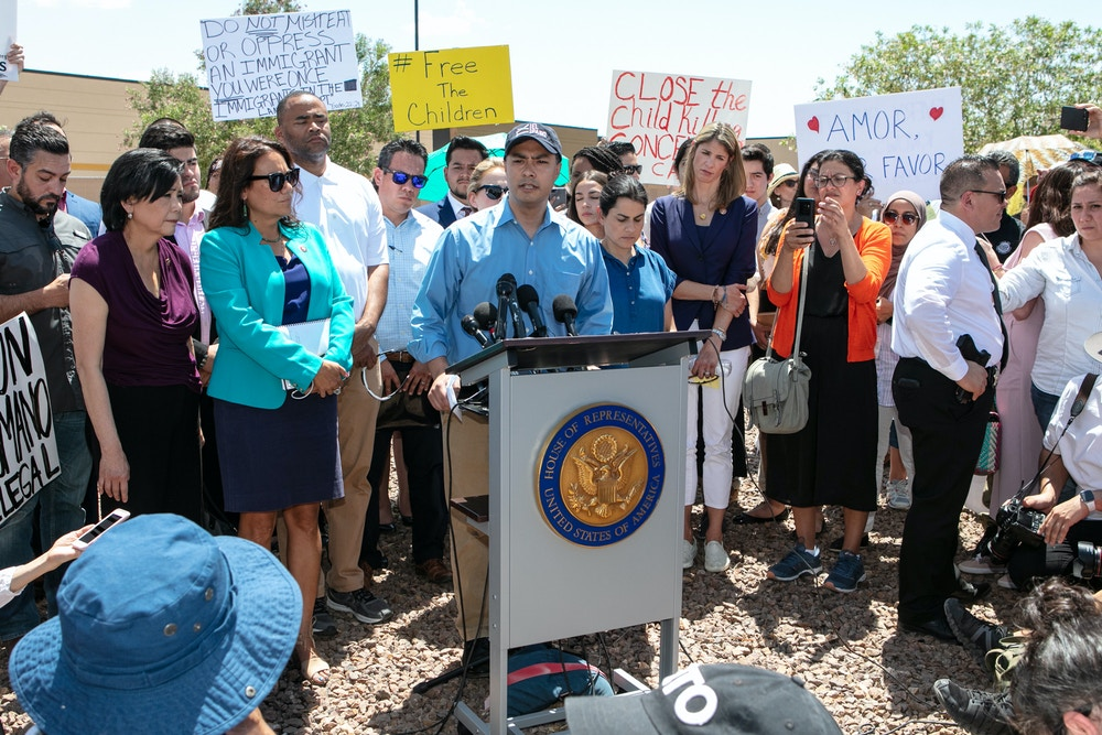 CLINT, TX - JULY 01: Rep. Joaquin Castro (D-TX) addresses the media after touring the Clint, TX Border Patrol Facility housing  children on July 1, 2019 in Clint, Texas. Reports of inhumane conditions have plagued the facility where migrant children are being held. (Photo by Christ Chavez/Getty Images)