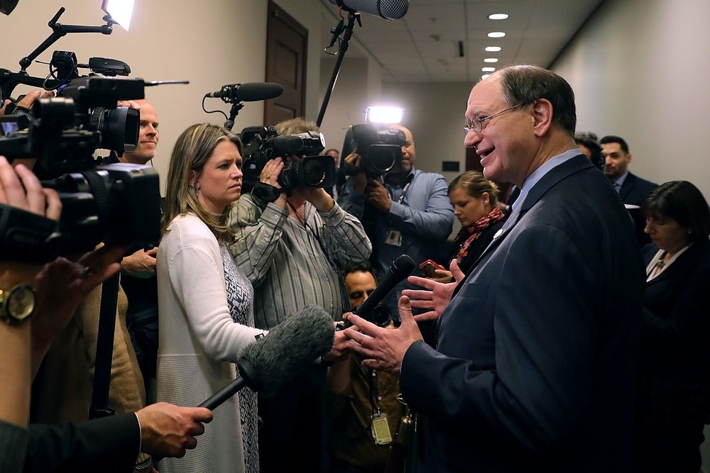 WASHINGTON, DC - FEBRUARY 08:  Rep. Brad Sherman (D-CA) (R) talks to reporters as he leaves a House Democratic caucus meeting at the U.S. Capitol February 8, 2018 in Washington, DC. Support from Democrats for a federal budget deal struck by leaders in the Senate will be key in getting the legislation through the House and prevent a government shutdown.  (Photo by Chip Somodevilla/Getty Images)