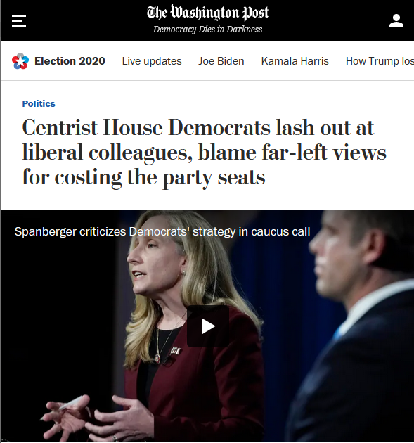 WaPo: Centrist House Democrats lash out at liberal colleagues, blame far-left views for costing the party seats