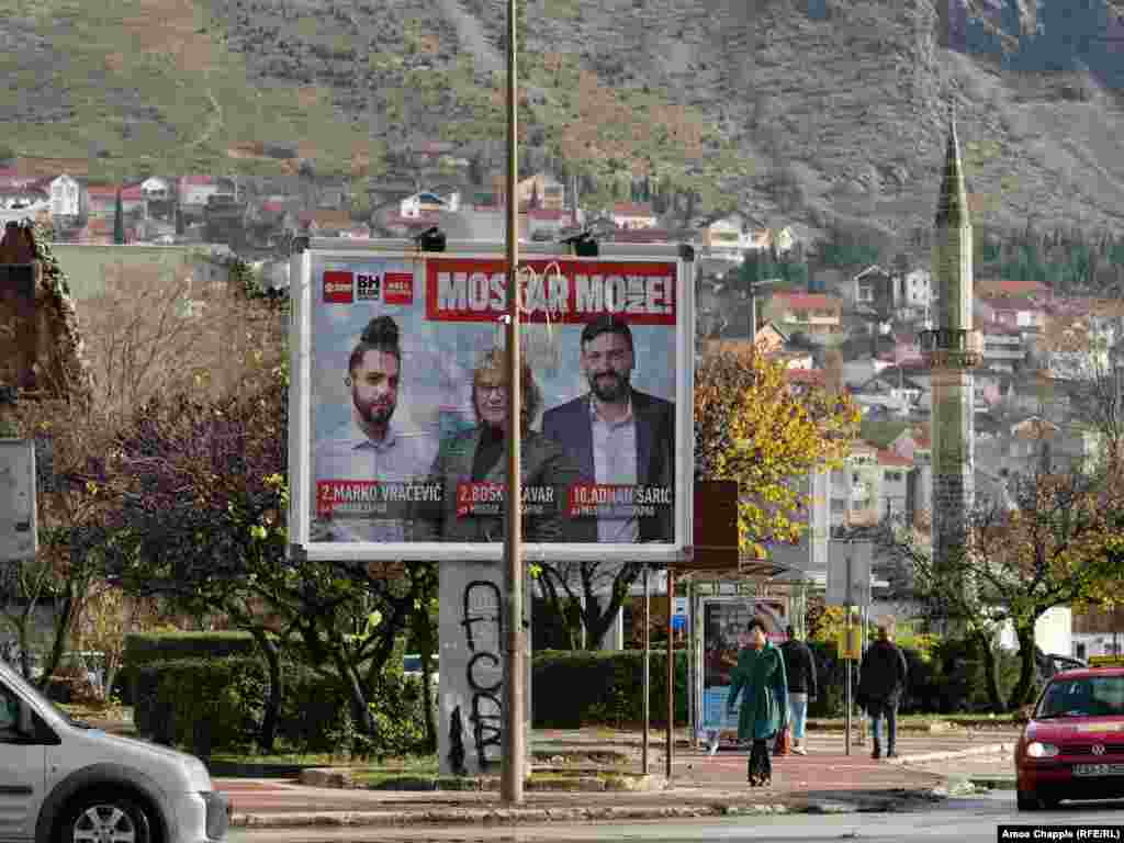 A political poster for upcoming elections in Mostar's city center.  Mostar is due to hold municipal elections on December 20 after more than 12 years of political impasse that left the city without a functioning local council.