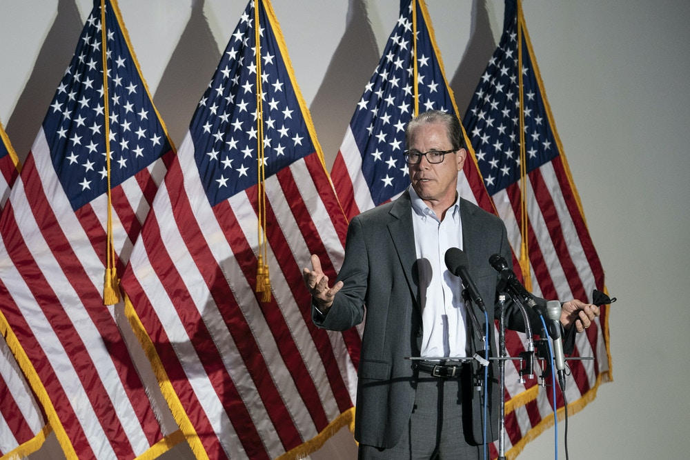 Senator Mike Braun, a Republican from Indiana, speaks during a news conference before the weekly Senate Republican caucus luncheon in Washington, D.C., U.S., on Tuesday, June 9, 2020. Senate Republicans are studying possible proposals to improve police practices in response to the nationwide protests over the killing of George Floyd in Minneapolis and a broad plan from Democrats that could make it easier to prosecute and sue officers. Photographer: Sarah Silbiger/Bloomberg via Getty Images