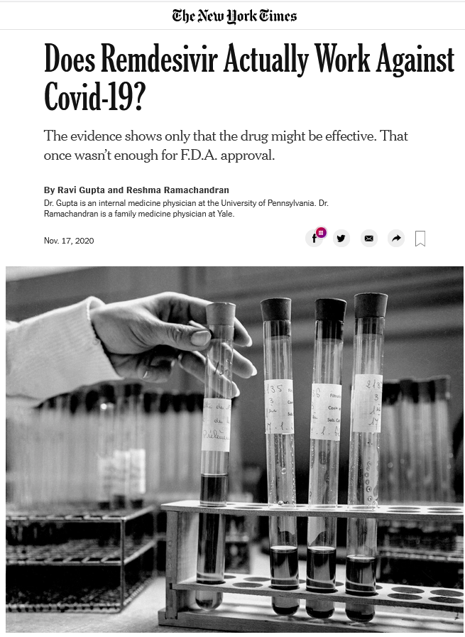 NYT: Does Remdesivir Actually Work Against Covid-19?