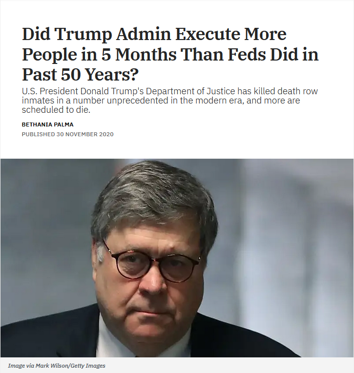 Snopes: Did Trump Admin Execute More People in 5 Months Than Feds Did in Past 50 Years?