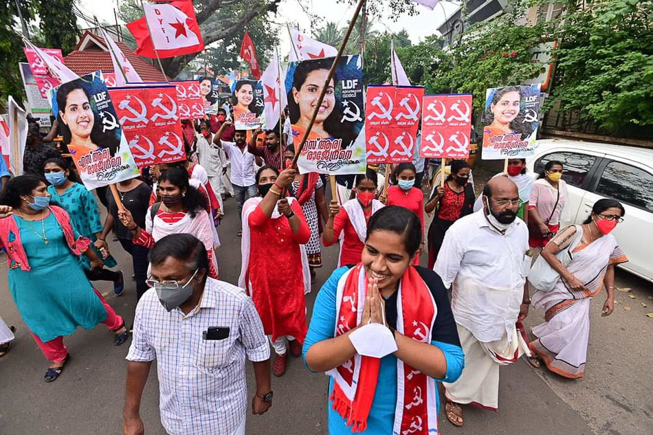 Arya Rajendran marches during the campaign