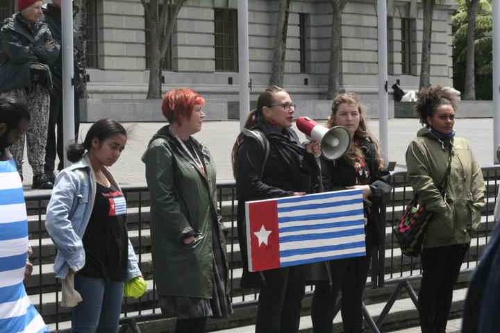 April Henderson speaks at the annual December 1st Flag Day demonstration in support of West Papuan Independence. 1 December, 2020.