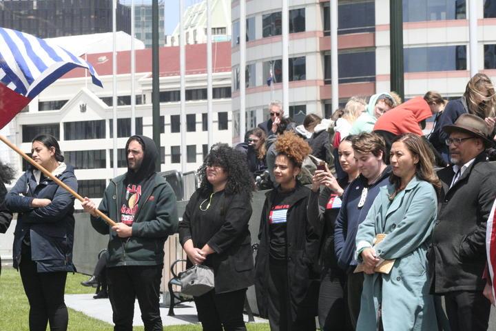 Green Party MPs Marama Davidson and Teanau Tuiono (far right)