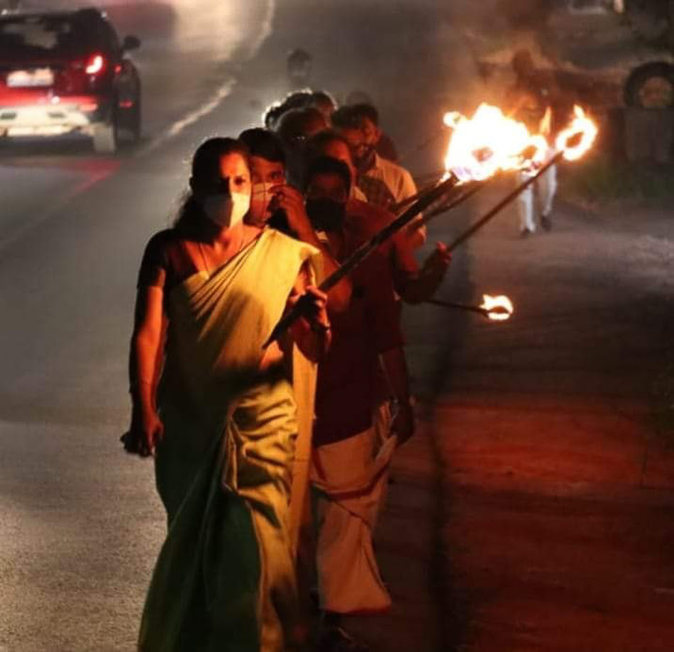 PP Divya leads a protest in solidarity with Indian farmers.