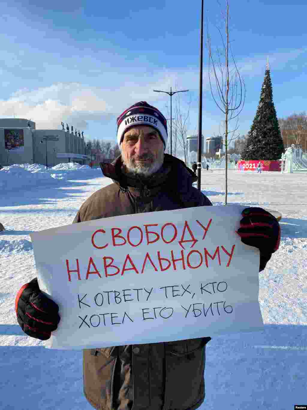 """Izhevsk: """"Freedom for Navalny. For those who wanted to kill him -- to justice"""""""