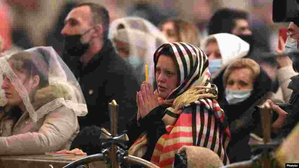 Armenians attend a Christmas mass in Yerevan.