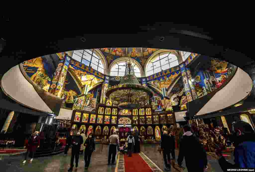 Macedonian Orthodox believers at the Church of St. Clement of Ohrid in Skopje.