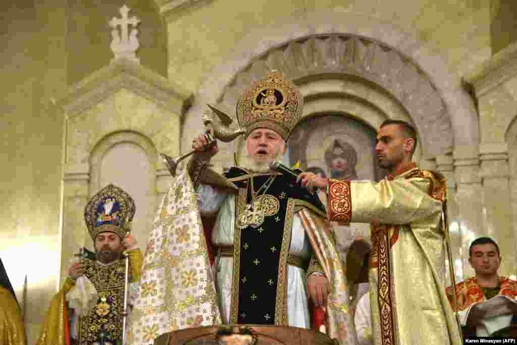 Garegin II, the head of the Armenian Apostolic Church, leads a religious service on Orthodox Christmas Eve on January 6. The service was not attended by Armenian Prime Minister Nikol Pashinian, as Garegin has called for his resignation because of his handling of the recent war in Nagorno-Karabakh.