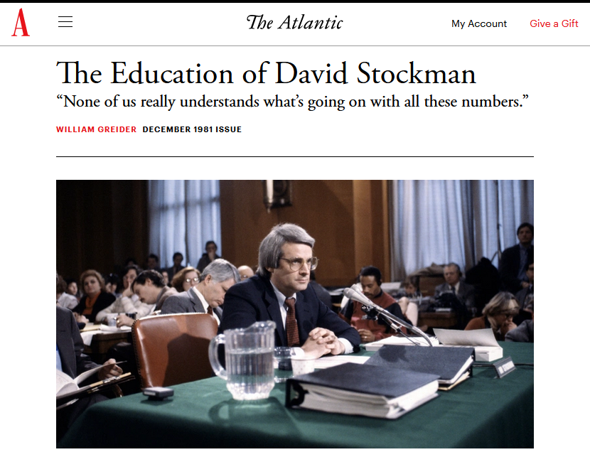 Atlantic: The Education of David Stockman