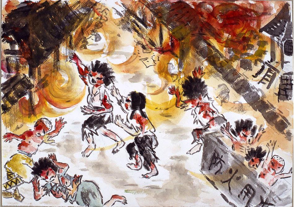 Yoshiko Michitsuji (Japan), I Ran Toward My House Through a Sea of Flames, 1974 (courtesy of the Hiroshima Peace Memorial Museum).