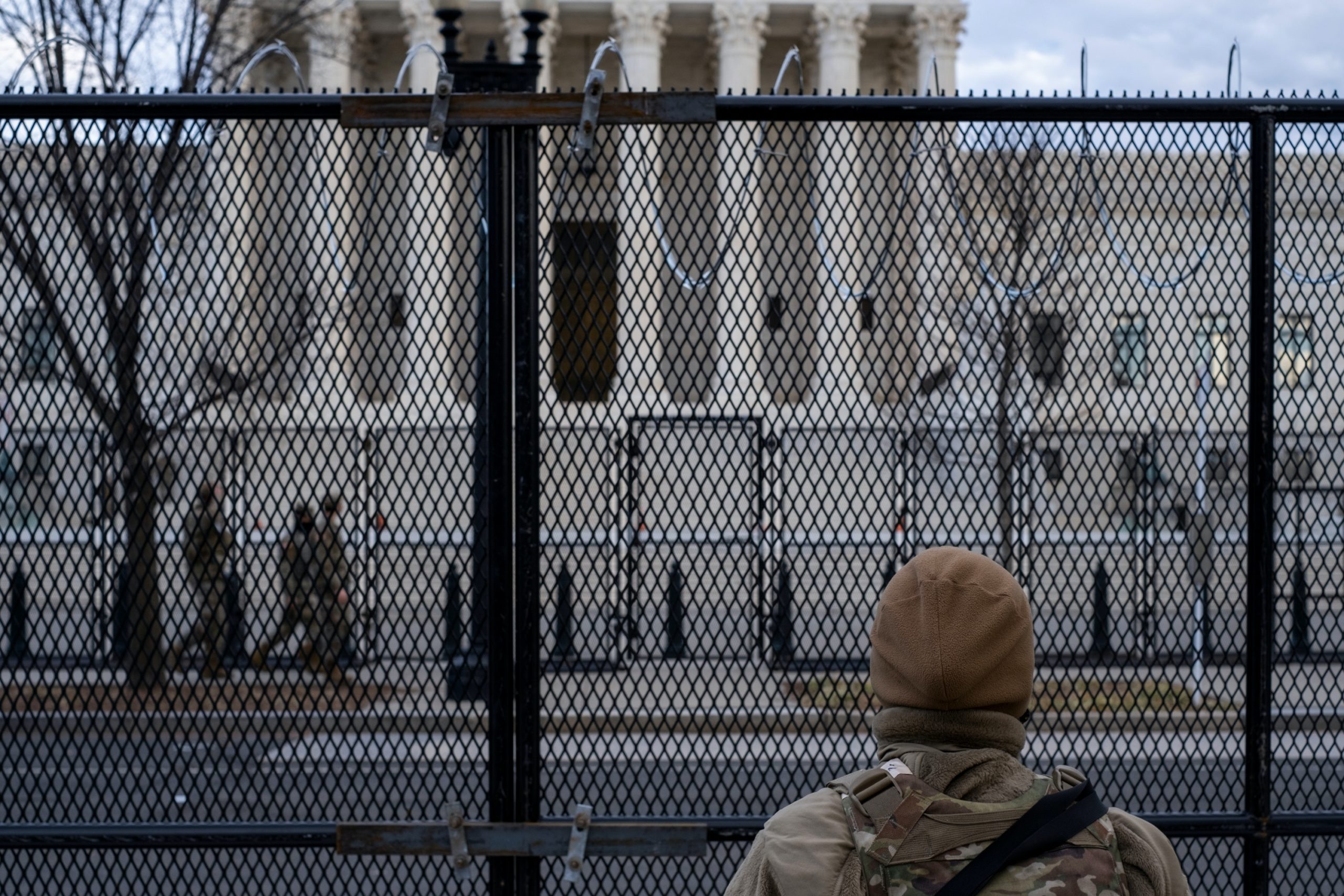Security measures in place around the capitol building in Washington DC in preparation for the inauguration of President Joe Biden.