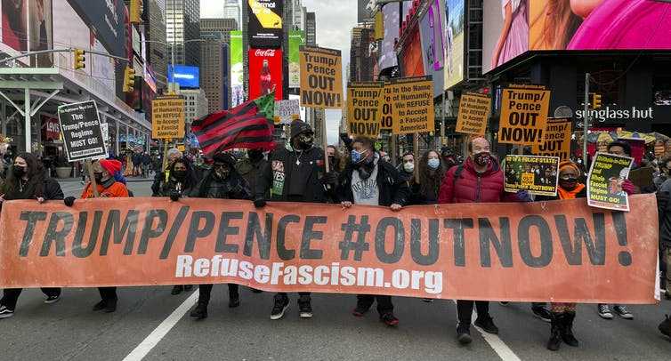 """A """"refuse fascism"""" rally in New York."""