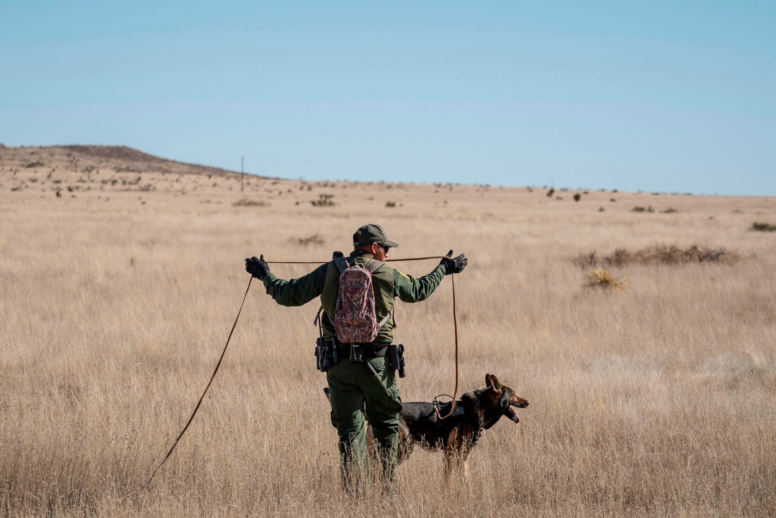 Canine Handler Agent Jose Solis, looks for the trail of suspects with his dog Max, a Belgian Malinois, Marfa, Texas on January 29, 2020. - Agents in the Big Bend Border Patrol Sector employ tracking techniques and spend a lot of time on foot and on horseback to pursue smugglers, and drug or human traffickers through the remote terrain of West Texas. (Photo by Paul Ratje / AFP) (Photo by PAUL RATJE/AFP via Getty Images)