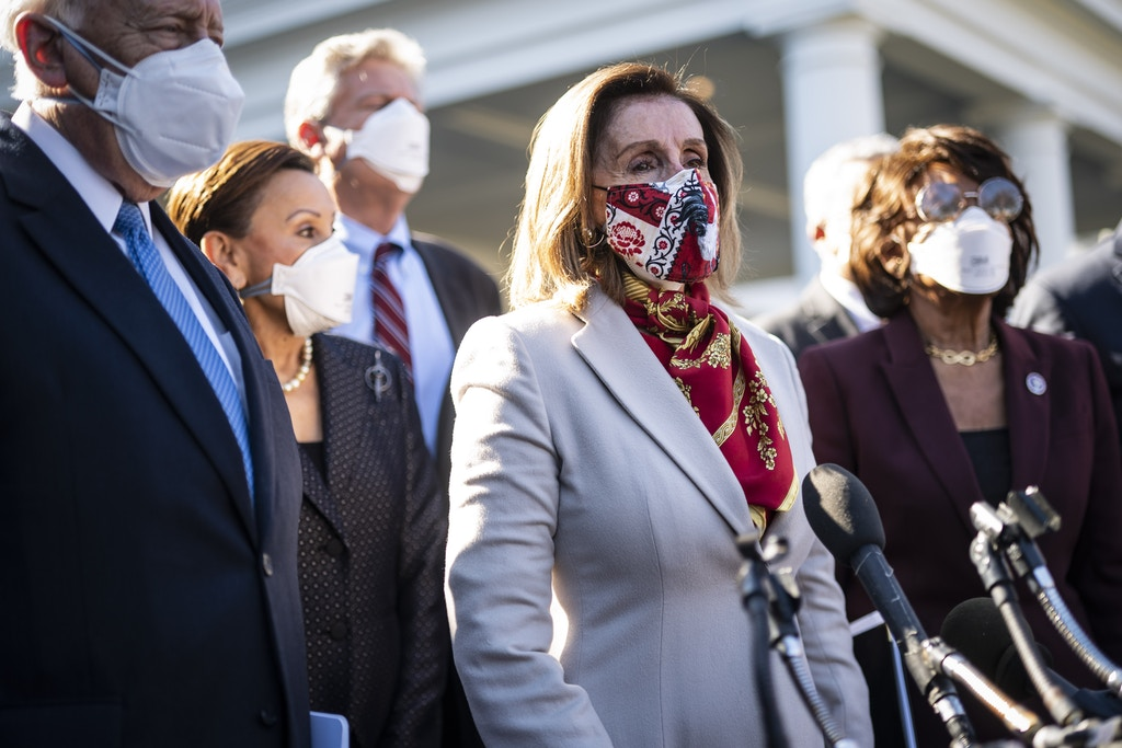 WASHINGTON, DC - FEBRUARY 5: House Speaker Nancy Pelosi and other Democrat lawmakers speak outside the West Wing after meeting with President Joe R. Biden at the White House on Friday, Feb 05, 2021 in Washington, DC. (Photo by Jabin Botsford/The Washington Post via Getty Images)