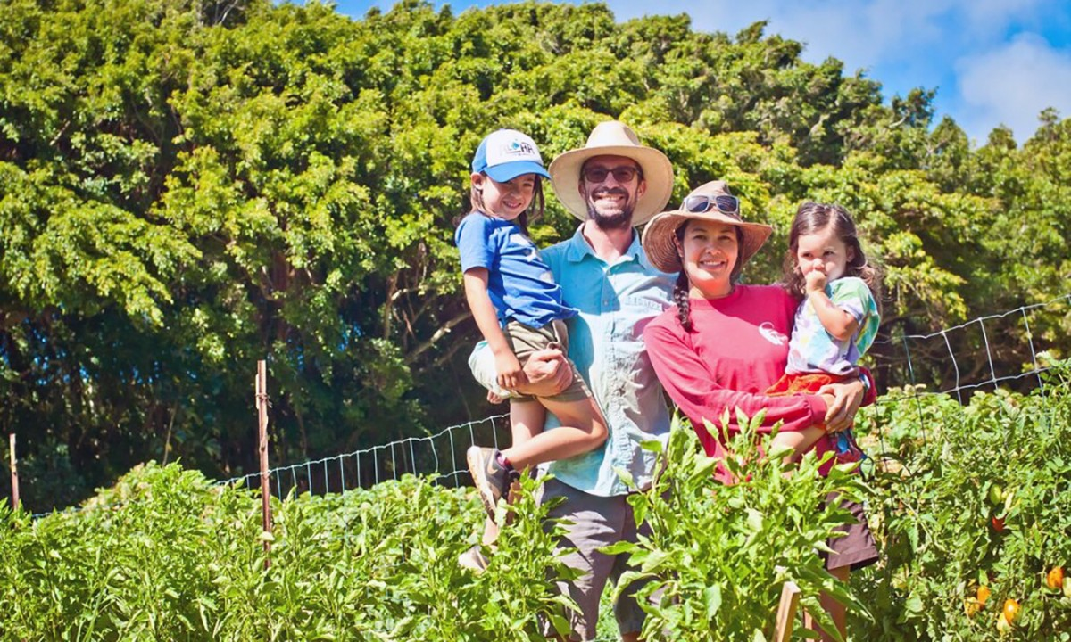The Gibbs family, part of the first Ohana Agriculture Initiative. (Photo: Malia Welch)